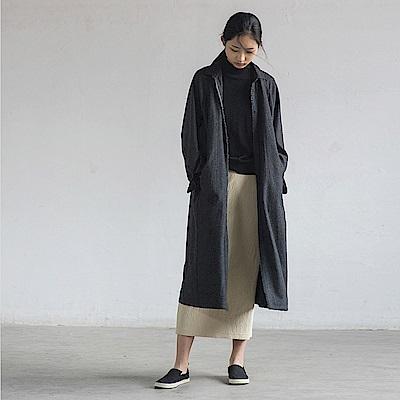 旅途原品_文馨_原創設計羊毛呢襯衫式連衣裙-灰色