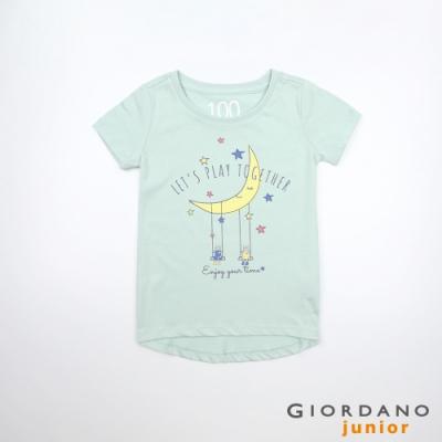 GIORDANO 童裝夢幻童話印花純棉T恤-43 海港灰綠