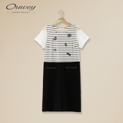 OUWEY歐薇 俏麗條紋貼布繡連身裙(白)