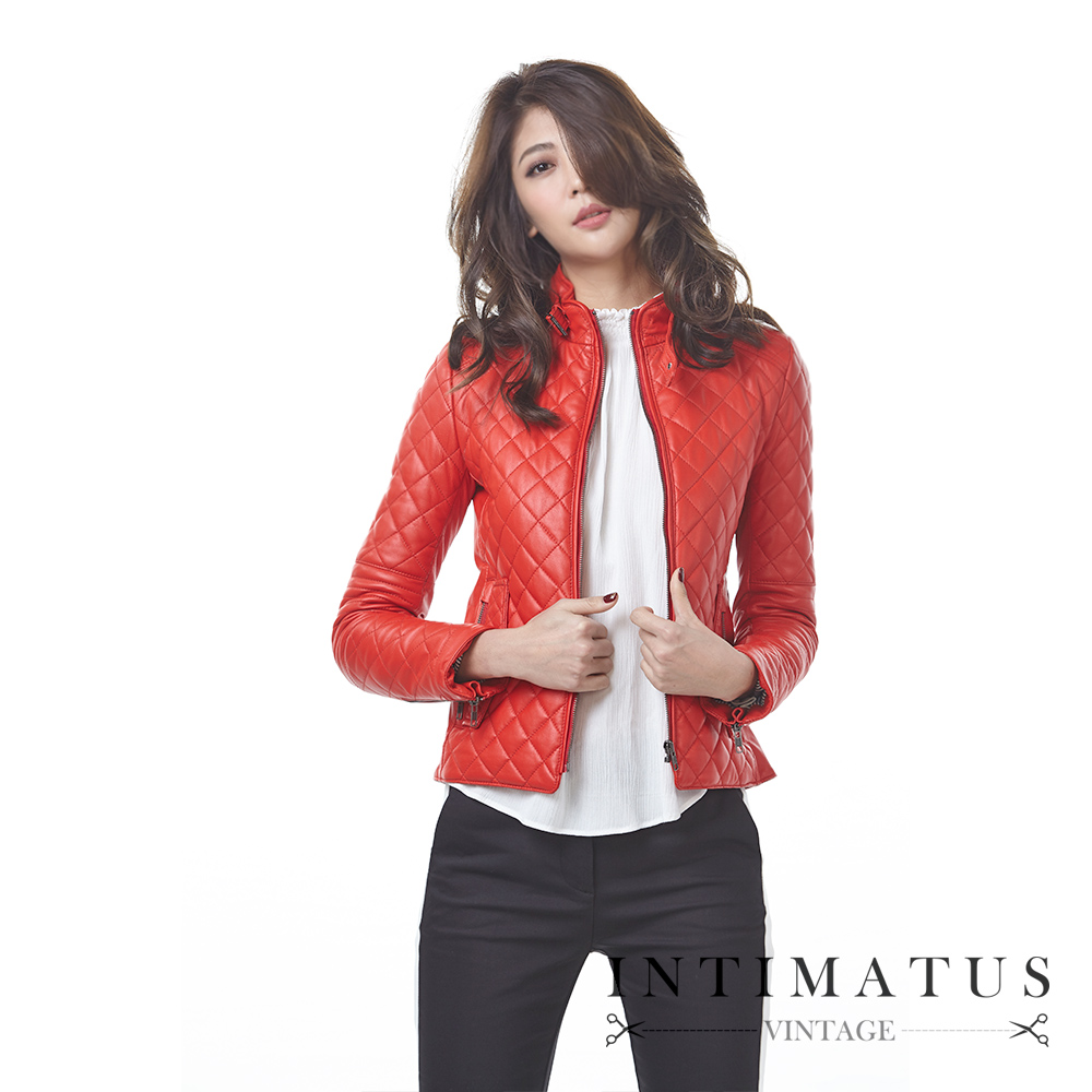 INTIMATUS 真皮 菱格紋超柔軟頂級小羊皮皮衣 法拉利紅