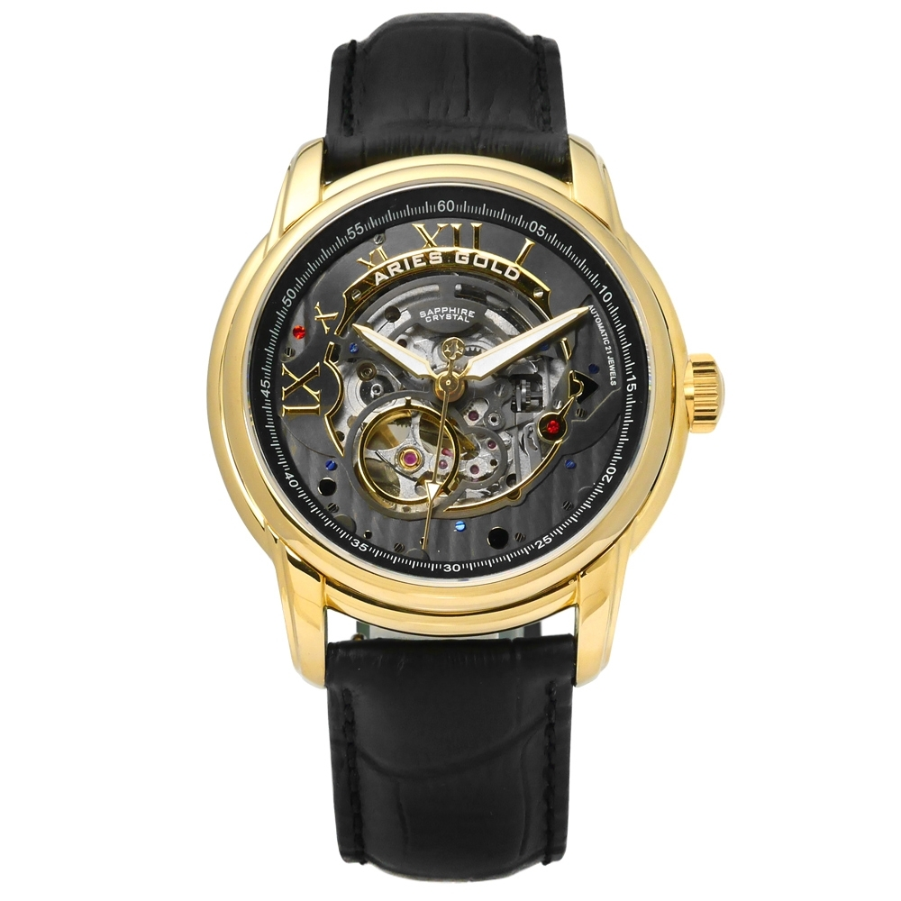 ARIES GOLD 自動上鍊 鏤空錶盤 真皮機械錶-灰x金框x黑/43mm