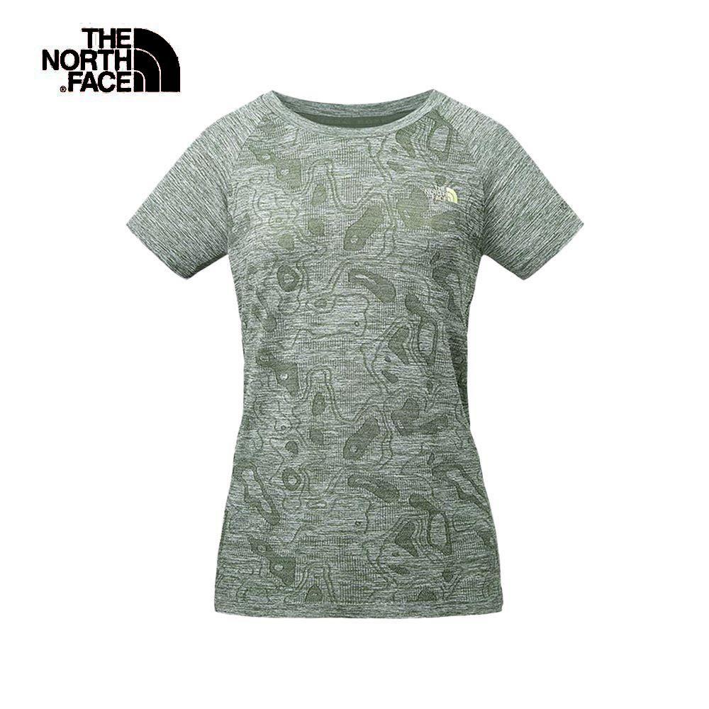 The North Face北面女款綠色吸濕排汗無縫針織短袖T恤 3RLA1LR