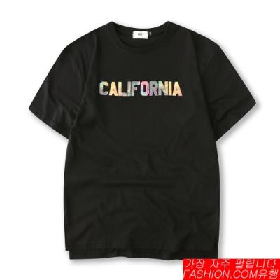 FASHION館 寬版彩繪CALIFORNIA文字落肩短T 五分袖
