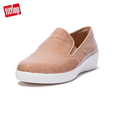 【FitFlop】SUPERSKATE PATENT CROC-PRINT LOAFERS 輕量休閒樂福鞋-女(米色)