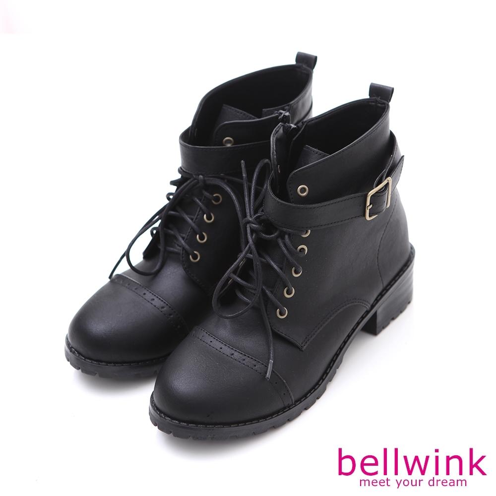 bellwink 率性金屬扣繫綁繩軍靴-黑色-b9709bk