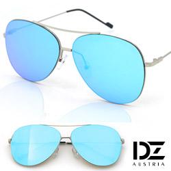 DZ 街拍平版框 防曬抗UV太陽眼鏡 墨鏡(銀框水藍膜)