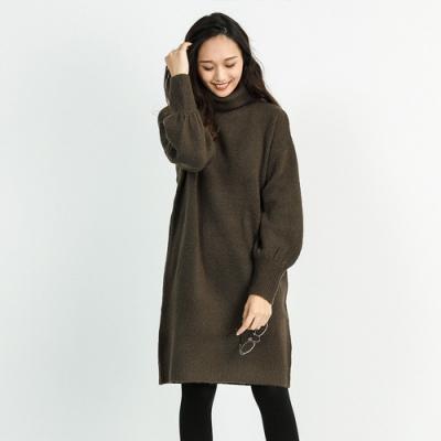 Fashion Letter 親膚高領落肩縮口針織長版上衣(共四色)