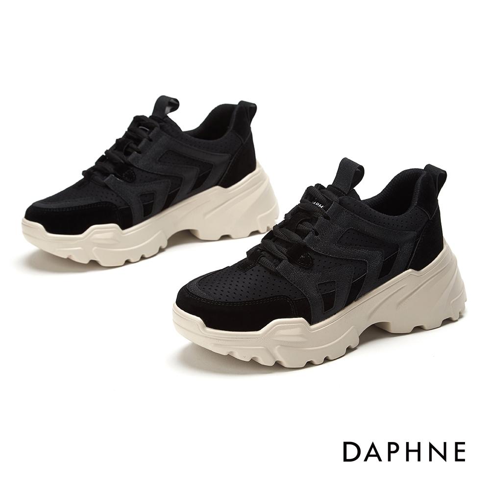 達芙妮DAPHNE  休閒鞋-透氣舒適潮流厚底休閒運動鞋-黑