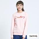 SOMETHING 撞色刺繡 厚長袖T恤-女-粉紅色