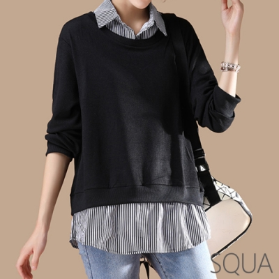 SQUA 假兩件前短後長針織襯衫-(L/XL)