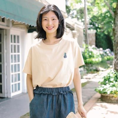 T恤-仙人掌印花短袖純棉寬鬆上衣文藝-設計所在