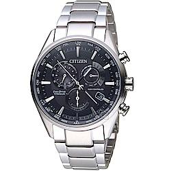 CITIZEN 星辰 時尚電波對時鈦金屬廣告款腕錶(CB5020-87E)-黑灰色