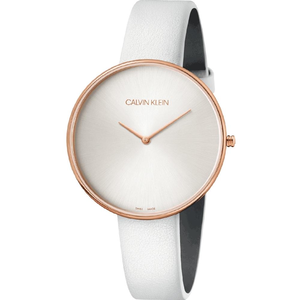 Calvin Klein CK優雅月光質感皮帶腕錶(K8Y236L6)42mm