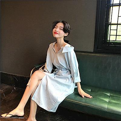 DABI 韓系扭結露肩襯衫裙長袖洋裝
