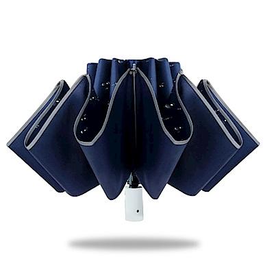 好傘王 自動傘系-(4入組)輕白超輕量電光黑膠防曬降溫反向折傘(多色)