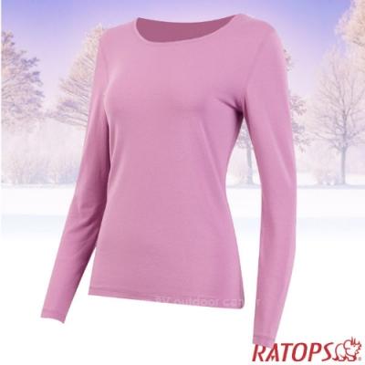 瑞多仕 女款 VILOFT 彈性圓領長袖保暖衣_DB4654 紫粉紅色