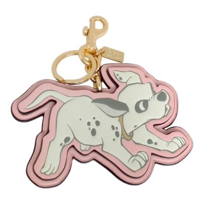 COACH x Disney粉紅全皮101忠狗雙扣環鑰匙圈