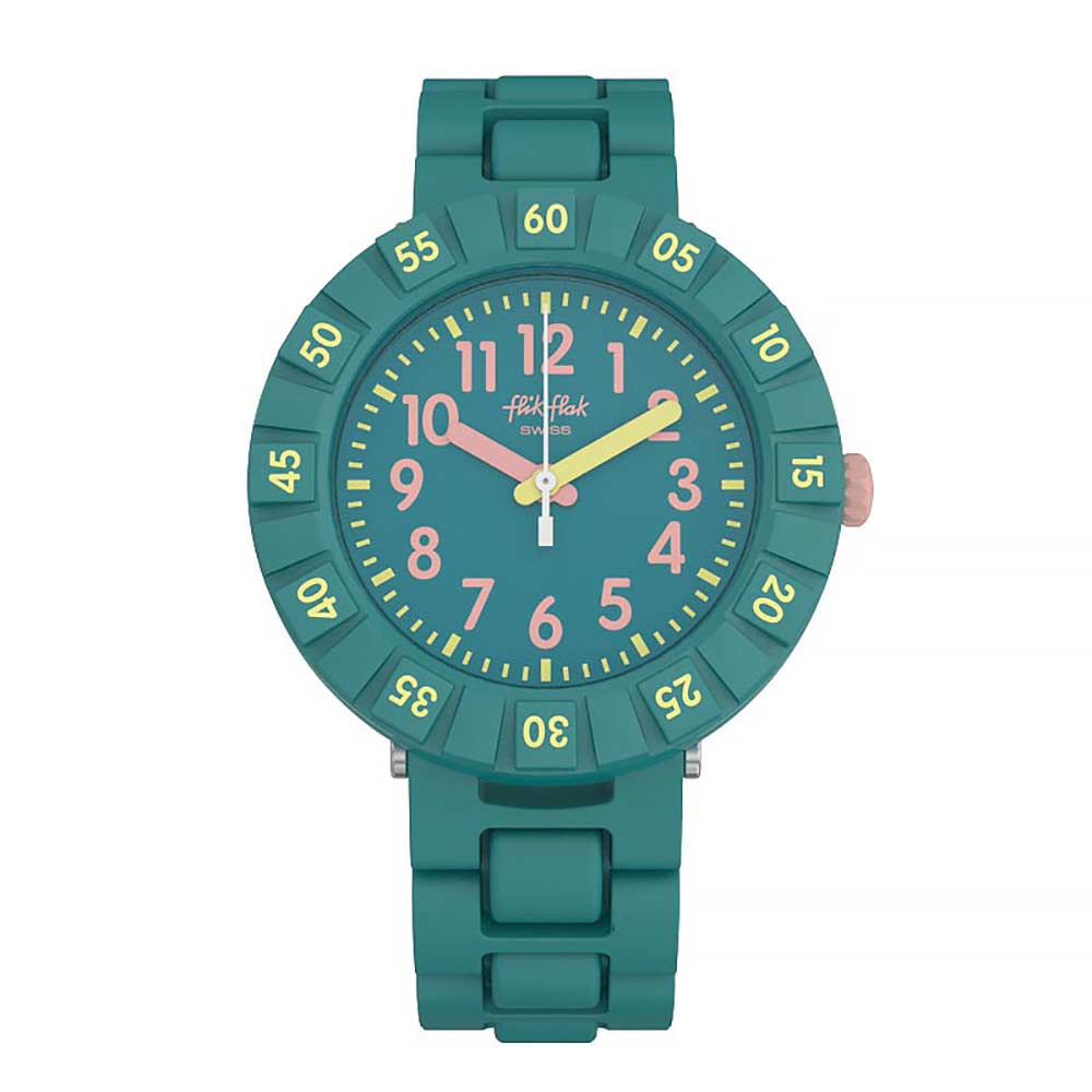 Flik Flak 兒童錶 SOLO PETROL 藍綠心機