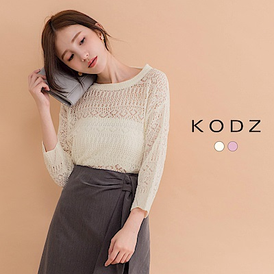 東京著衣-KODZ 歐美氣質蕾絲七分針織衫(共二色)