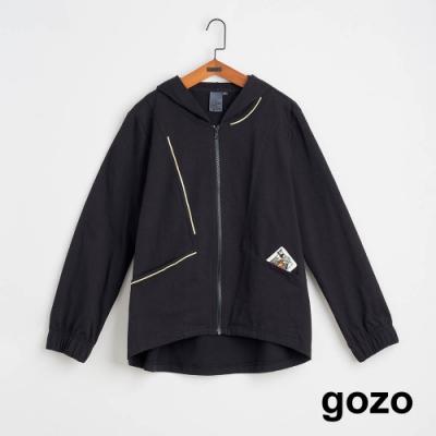 gozo-寬鬆線條繡花連帽外套(兩色)