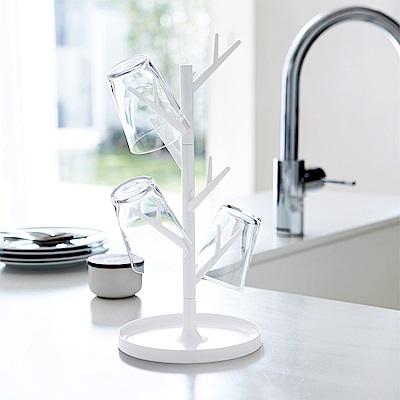 日本 YAMAZAKI-樹枝杯架(白)★樹枝收納架/首飾收納架/飾品收納架/廚房杯架