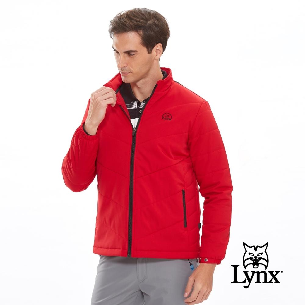 【Lynx Golf】男款3X DRY吸汗速乾防潑水鋪棉長袖外套-暗紅色