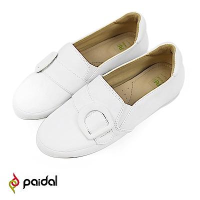 Paidal 復古扣皮感環休閒鞋樂福鞋懶人鞋-白
