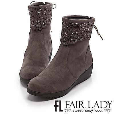 Fair Lady 點珠縷空後蝴蝶結厚底短靴 灰