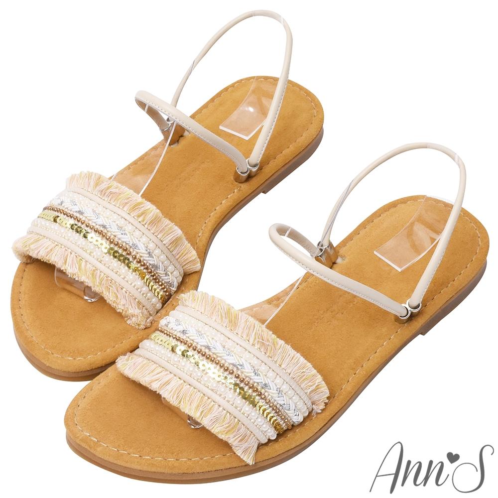 Ann'S水洗牛皮-流蘇亮片可兩穿圓頭涼鞋