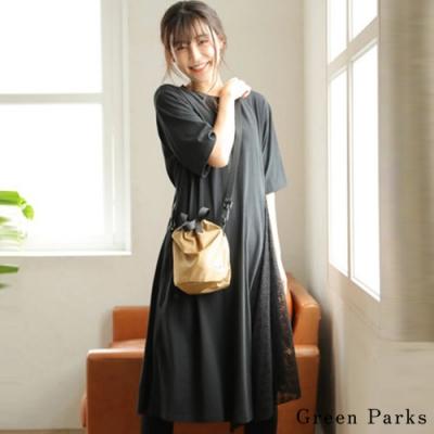 Green Parks 拼接蕾絲短袖洋裝