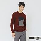 H:CONNECT 韓國品牌 男裝-色塊拼接針織上衣-紅(快)