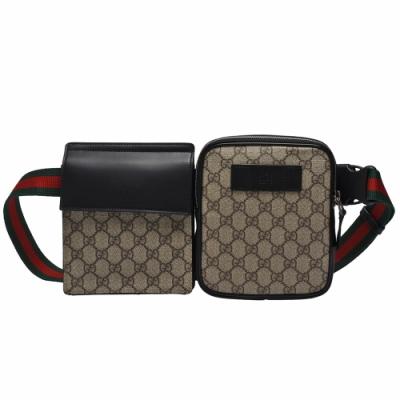 GUCCI 經典GG Supreme帆布綠紅綠織帶雙袋斜背/腰包
