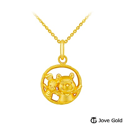 Disney迪士尼金飾 維尼系列-閨密黃金墜子 送項鍊