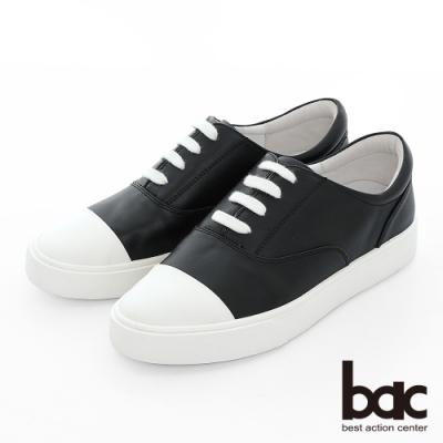 【bac】週末輕旅行 - 撞色拼接綁帶街頭風平底休閒鞋-黑