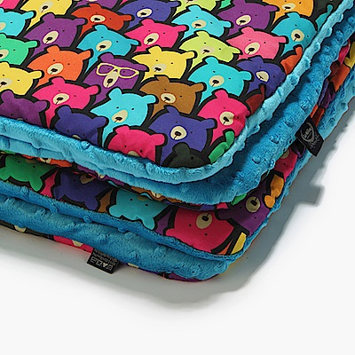 La Millou 暖膚豆豆毯-嬰兒毯寶寶毯-小熊軟糖(藍綠調色盤)