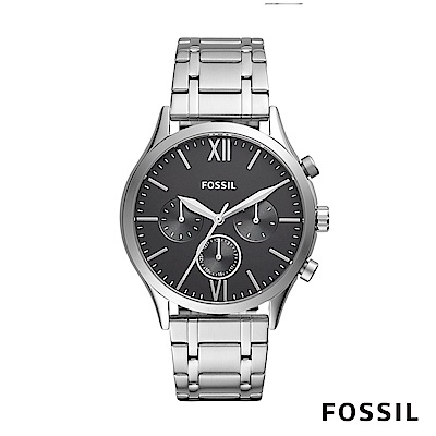 FOSSIL FENMORE MI 多功能不銹鋼男錶-銀色 約44mm BQ2406