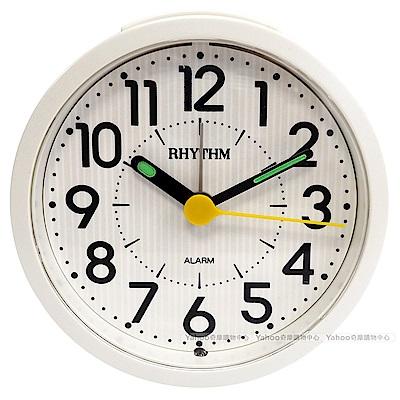 RHYTHM 麗聲 多彩可愛圓形夜光小鬧鐘-條紋白/9cm