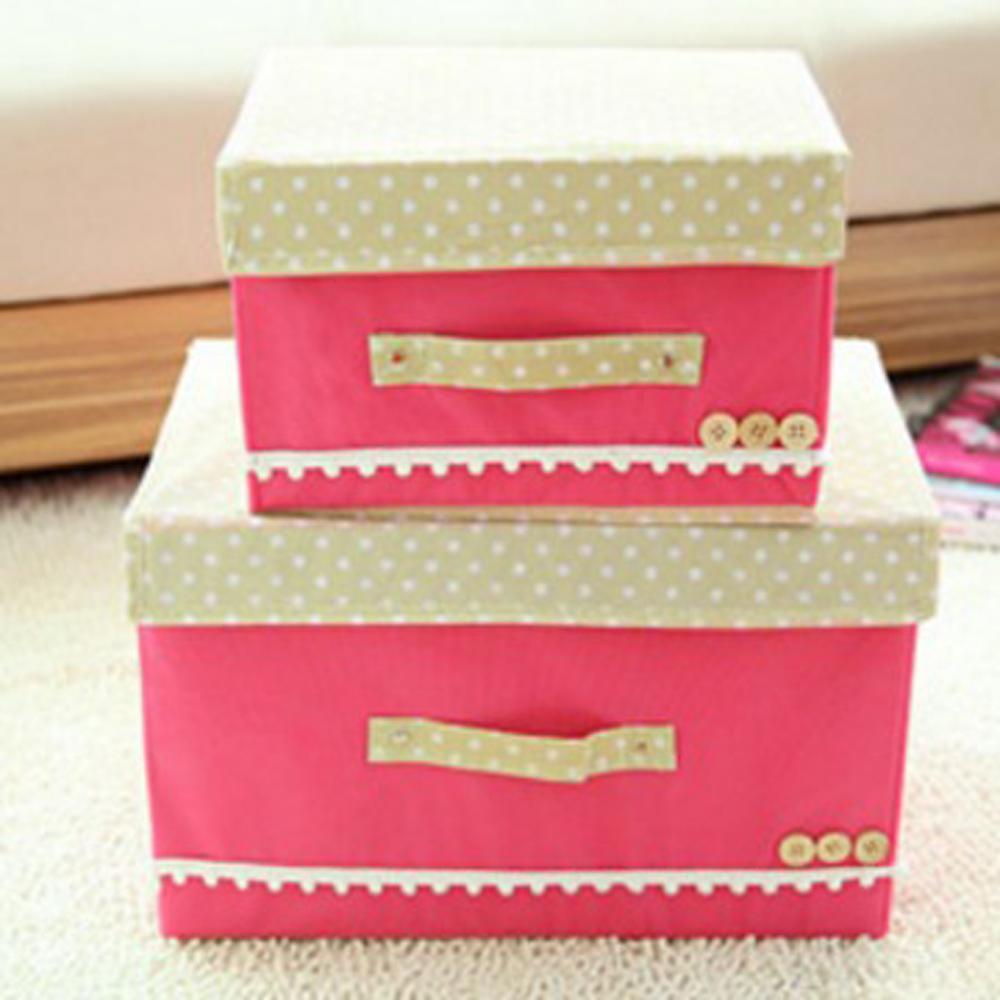 香草花園 日系點點高質感粉彩蕾絲花邊收納箱/內衣收納/玩具收納_清新甜美款(大)