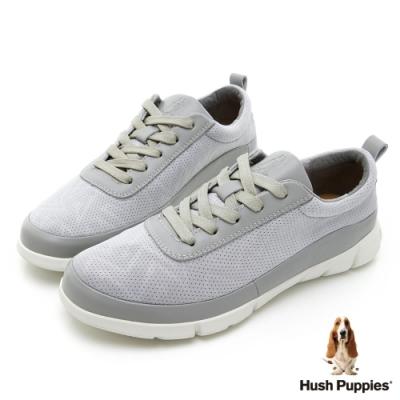 Hush Puppies 率性拼接透氣健步鞋-淺灰