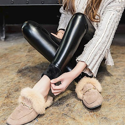 La Belleza歐美風皮褲內裡加絨加厚超厚鋪絨毛皮質內搭褲(加大)