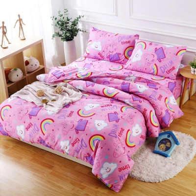 Peppa Pig  佩佩夢想屋  親膚舒柔雙人床包枕套三件組