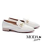 低跟鞋 MODA Luxury 經典不敗時尚金屬飾釦全真皮樂福低跟鞋-白