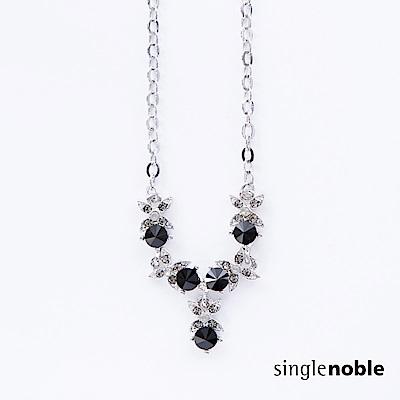 獨身貴族 絕美花藝黑錐鑽飾設計項鍊(1色)