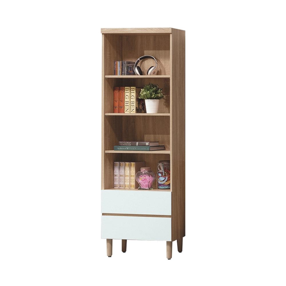 柏蒂家居-利亞2尺二抽開放式書櫃/收納置物櫃-61x32x185cm
