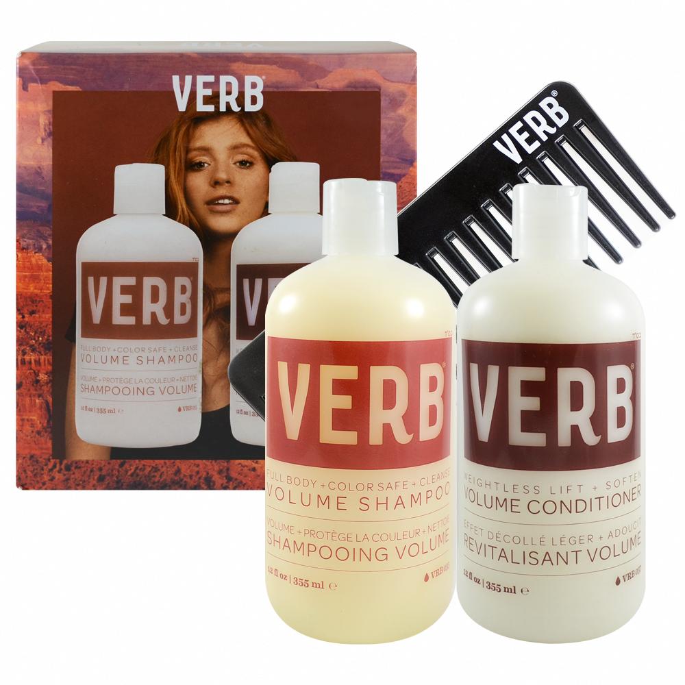 VERB 豐盈洗髮2件組-洗髮精 355ml+潤髮乳355ml+造型梳 Volume