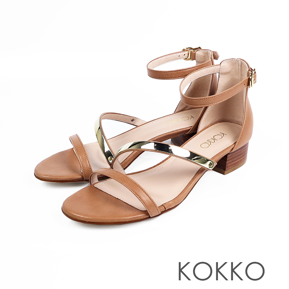 KOKKO- 女神降臨金屬曲線一字帶粗跟涼鞋-濃奶茶