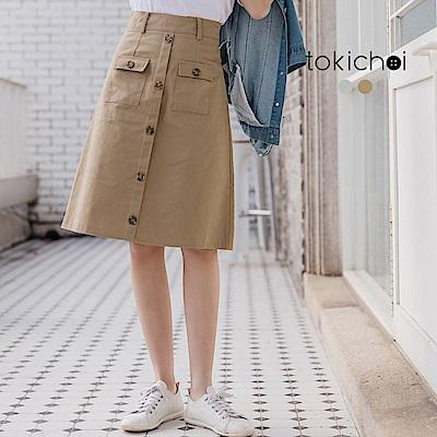 東京著衣 鄰家少女挺感排釦膝下A字裙-S.M.L(共兩色)