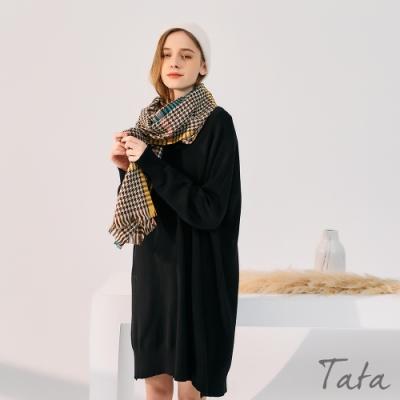 寬鬆V領坑紋素色洋裝 共二色 TATA-F