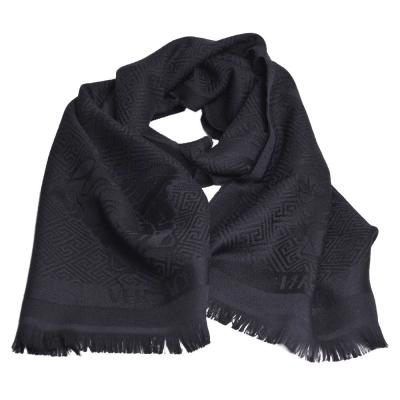 VERSACE 凡賽斯梅杜莎圖騰品牌字母LOGO義大利製設計羊毛披肩圍巾(黑)