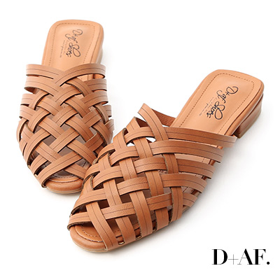 D+AF 復古私著.層次感編織低跟穆勒鞋*棕